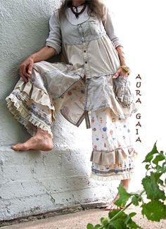 Aura Gaia Tea & Crumpets ~ Bloomer Pettipant Puddle Jumpers & Poorgirl Pinstripe Mori Boho Jumper Sleeveless Vest Tunic. upcycled linens, cottons, lace. fits XS-M/L.