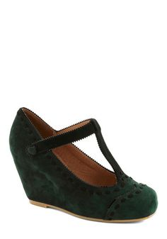 Hopes and Seams Wedge by Jeffrey Campbell - Green, Black, Solid, Trim, Suede, Wedge, Best, Work, Scholastic/Collegiate, Leather, Fall