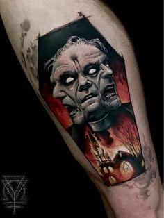 Dark art tattoo by Clod the Ripper Dark Art Tattoo, Real Tattoo, Color Tattoo, Tattoo Ink, Gotik Tattoo, Horror Movie Tattoos, Creepy Tattoos, Face Tattoos, Mujeres Tattoo