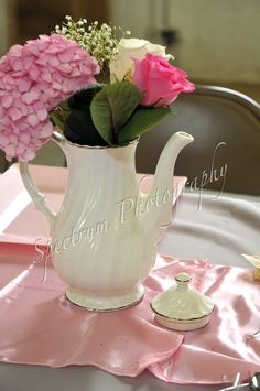 Teapot with pink and white flowers