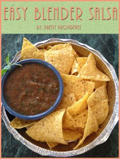 Okay, this salsa literally takes less than two minutes to through together and it tastes fresh and delicious! Totally a must for company!