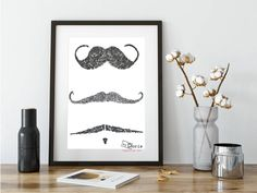 Are you ready for Movember. Heres a lovely Moustache Print drawn with a vintage Typewriter, perfect for creating a Movember atmosphere mounted print Mounted and framed Please choose in the option Dory, Artisan, Gallery Wall, Moustache, Unique Jewelry, Frame, Handmade Gifts, Vintage, Preston