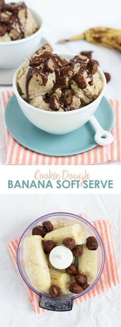 Vegan Cookie Dough Banana Soft Serve, the perfect summer treat! via FitFoodieFinds.com