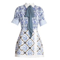 Mary Katrantzou Hayden Toile De Jouy-print Poplin Dress In Blue Kpop Fashion Outfits, Stage Outfits, Looks Chic, Looks Style, Mary Katrantzou, Wet Look Dress, Mode Plus, Gingham Dress, Striped Dress