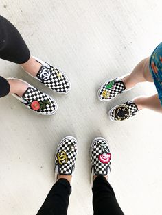 Lisa Allen and kids create a DIY design of their shoes with Vans by using patches