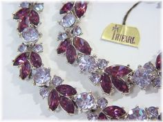TRIFARI - Rhinestone 1960s Amethyst Purple Delicious Necklace & Bracelet Set - With Original Tag - Estate Antique Costume - FREE SHIPPING by FindMeTreasures on Etsy