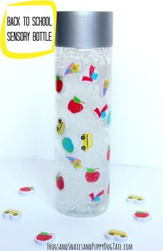 DIY back to school sensory bottle. Fun activity for the kids on FSPDT (Bottle Bag Sensory Play) Sensory Bottles Preschool, Sensory Activities Toddlers, Sensory Bags, Preschool Science, Sensory Play, Infant Activities, Sensory Rooms, Playdough Activities, Sensory Table
