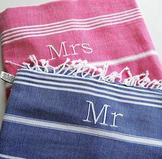 Mrs And Mr Personalised Hamam Beach Towel Set from notonthehighstreet.com