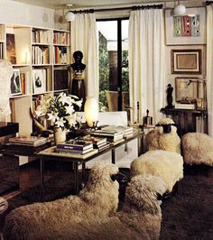 Yves Saint Laurent's personal library, with Lalanne sheep chairs (Architectural Digest, Celebrity Homes) Home Design, Interior Design, Architectural Digest, Yves Saint Laurent Paris, Living Spaces, Living Room, Vintage Interiors, Paris Apartments, Celebrity Houses