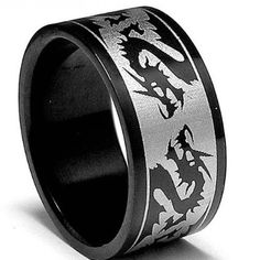 8MM Black Stainless Steel Ring with Dragon Design sizes 5 to 14: Wedding gift