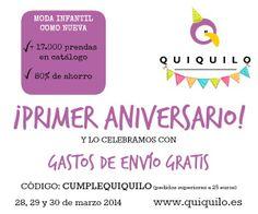 Gastos de envío gratis el 28, 29 y 30 en Quiquilo www.quiquilo.es