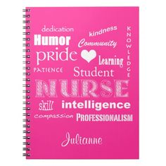 Student Nurse-Attributes Heart/Personalize Name Spiral Notebook