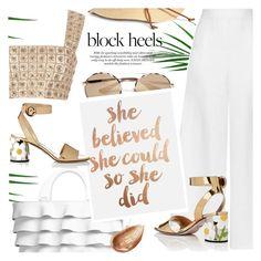 """Block heels"" by jan31 ❤ liked on Polyvore featuring Oscar de la Renta, Miguelina, Michael Kors, Prada, Jouer, Summer, white, croptops, neutrals and blockheels"