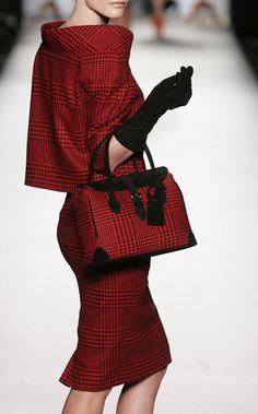 Gorgeous plaid suit and bag by designer Vassilis Zoulia.