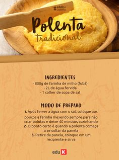 Polenta, A Food, Good Food, Food And Drink, Brazillian Food, Cornmeal Recipes, Brazil Food, Cooking Recipes, Healthy Recipes