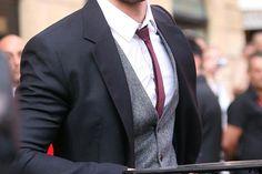 Black Suit w/ Wool Waistocat & Burgundy Skinny Tie