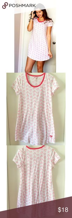 Victoria's Secret Sleep Shirt- Holiday Edition! Cute and comfy sleep shirt with candy cane hearts!❤️ Worn once and still in great shape. Open to offers :) Victoria's Secret Other