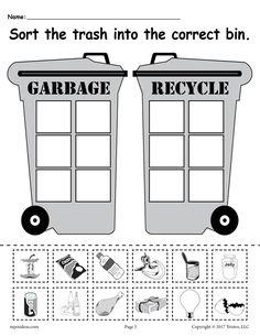 Sorting Worksheet for Kindergarten sorting Trash Earth Day Recycling Worksheets 4 Printable Versions Earth Day Worksheets, Earth Day Activities, Worksheets For Kids, Shapes Worksheets, Bubble Activities, Exercise Activities, Addition Worksheets, Sorting Activities, Winter Activities