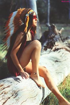 Headdress and outdoor forest setting