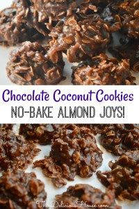 No-Bake Chocolate Coconut Cookies taste just like Almond Joy bars! Easy to make, don't miss this simple treat recipe. Chocolate Coconut Cookies, Almond Joy Cookies, Yummy Cookies, Large Chocolate Lava Cake Recipe, No Bake Coconut Cookies, Oatmeal No Bake Cookies, Chocolate Pops, Cherry Cookies, Chocolate Snacks