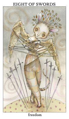 eight of swords - joie de vivre tarot - paulina cassidy Online Tarot, Believe In Magic, Oracle Cards, Magical Creatures, Book Of Shadows, Tarot Decks, Tarot Cards, Fairy Tales, Illustration Art