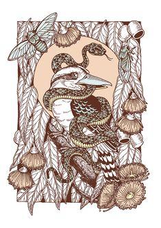 Laughing Bird print by Rachel Urquhart // available at ponyxgoldstudio.com // @raychponygold // #illustration #drawing #Australiana #botanical #kookaburra