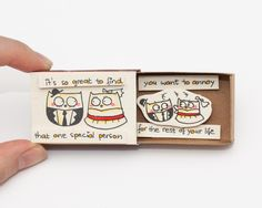 Funny Anniversary Love Card Matchbox/ Gift box/ Message box/ Owls/ It's so great to find that one special person by shop3xu on Etsy https://www.etsy.com/listing/216609618/funny-anniversary-love-card-matchbox