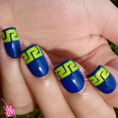 Neon Greek by ManisMakeovers from Nail Art Gallery