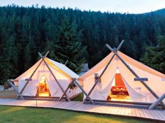"""Glamping"" (glam camping) at Clayquot Wilderness Resort in Tofino, Vancouver Island, Canada. With 5 course dinners, zip-lining, archery, deep-sea fishing. Por favor!!"