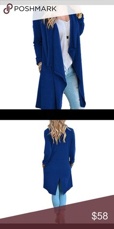 """🆕Solid Lightweight Knitted Long Trench Cardigan Flat Measurement  S:Bust:34"""" Length:38.5""""  size 4-6 M:Bust:36"""" Length:38.9"""" size 8-10 L:Bust:38"""" Length:39.3""""  size 10-12 XL:Bust:40"""" Length:39.7"""" size 12-14  XXL:Bust:42"""" Length:40.1"""" size 16.                         Material:65%Cotton+35%Polyster Sweaters Cardigans"""