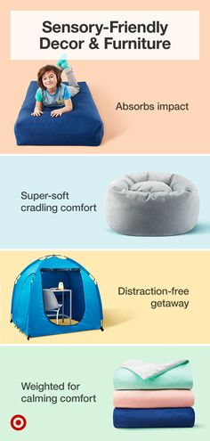 Find sensory-friendly bedroom & playroom ideas that are soothing and adapt to all kids' needs.
