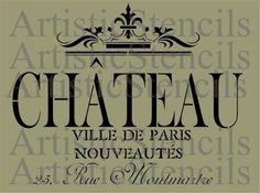 Chateau Ville de Paris Stencil 10x12.5