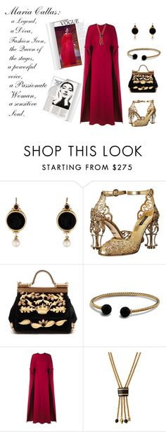 """My Maria Callas"" by keepfashion92 ❤ liked on Polyvore featuring Callas, Dolce&Gabbana, David Yurman, Valentino and Ashley Pittman"