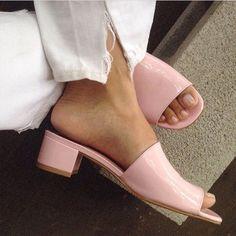 RG  @v_why  Sophie Slides in Pink Patent  #maryamnassirzadeh