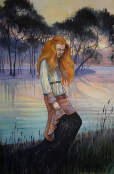 When I was painting this watercolor, I did not know whether the red-haired girl in Pre-Raphaelite inspired garment should be sad or just thoughtful, whe. Pre Raphaelite, Surreal Art, Surrealism, Mists, Princess Zelda, Watercolor, Deviantart, Fantasy, Painting