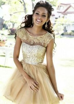 Keep • Short Lace Gold Sequins Top Prom Dresses 2014 [gold sequins homecoming...