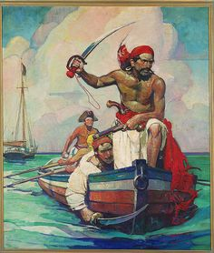 This could be First Mate Nada leading an assault! Illustration by Frank Earle Schoonover Pirate Art, Pirate Life, Art And Illustration, Pirate History, Nc Wyeth, Howard Pyle, Treasure Island, Fantasy, Art Challenge
