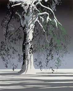 FIR TREE IN SNOW by Evind Earle edition of Eyvind Earle was an American artist, author and illustrator, noted for his contribution to the background illustration and styling of Disney animated films in the Eyvind Earle, Magic Realism, Wow Art, Tree Art, Artist Art, American Artists, Contemporary Artists, Paul Gauguin, Art History