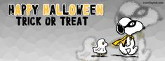 Snoopy Woodstock Happy Halloween Trick or Treat Facebook Cover CoverLayout.com