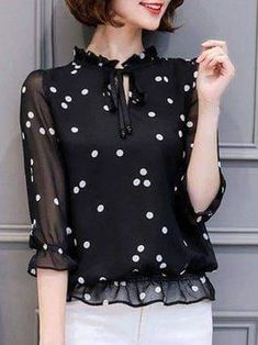 Sleeve Tie-neck Girly Polka Dots Chiffon Plus Size Blouse – Mode für Frauen Blouse Styles, Blouse Designs, Modest Fashion, Fashion Dresses, Fashion Blouses, Casual Dresses, Casual Outfits, Lace Dresses, Summer Dresses