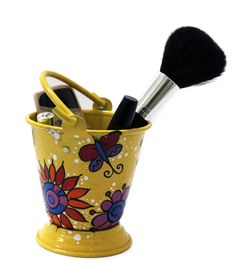 small hand painted Bucket can be used in your bathroom, kitchen, windowsill, or as planter