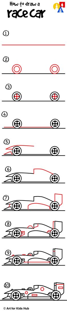 How to draw a race car!