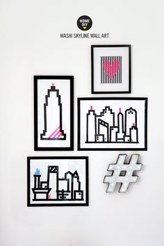 » HOME DIY | Washi Skyline Wall Art