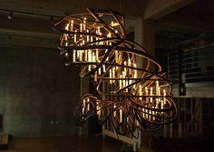 Driftwood chandelier vinatge filament bulbs vintage for Chandelier bois flotte