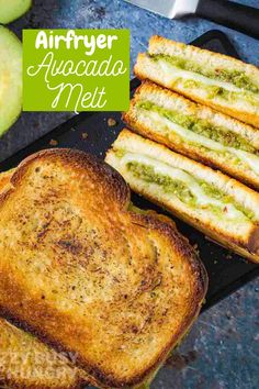 Avocado Melt is a healthier grilled cheese sandwich made in the airfryer Grilled Cheese Avocado, Quick Family Meals, Kid Friendly Dinner, Air Fryer Recipes, Dinner Recipes, Food And Drink, Lunch, Healthy Recipes, Cooking