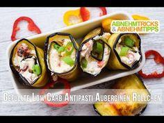 Das perfekte Low Carb Fingerfood für jede Gelegenheit. Abends ohne schlechtes Gewissen schlemmen - mit unseren Low Carb Antipasti-Auberginen-Röllchen!