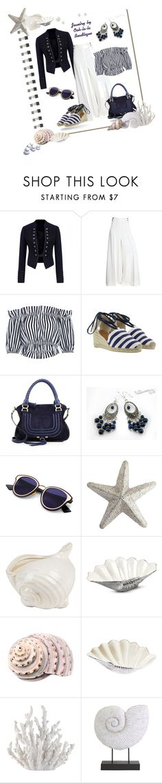 """Out to the Sea Summer - Jewelry by Ooh-la-la Beadtique"" by ooh-la-la-beadtique ❤ liked on Polyvore featuring Koo, Salvatore Ferragamo, Castañer, Chloé, Lazuli, Pier 1 Imports, Décor 140, Julia Knight, Fancy That Gift & Décor and IMAX Corporation"