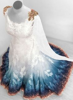 Bridal Gowns Colored by Taylor Ann Art - Gallery Ombre Wedding Dress, Blue Wedding Dresses, Wedding Gowns, Lace Wedding, Dipped Wedding Dress, Lesbian Wedding, Pretty Prom Dresses, Cute Dresses, Ombre Prom Dresses