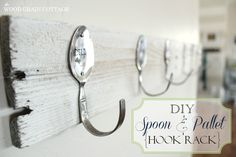 Use cheap silverware to create adorable hooks.