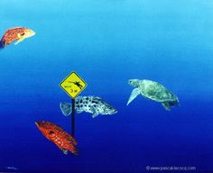 "CROISEMENT DANGEREUX - Dangerous crossing- oil on canvas on board by Pascal Lecocq The Painter of Blue  38 x 46cm 15""x21 5/8"" 1993 lec332 priv.coll. Australia pascal lecocq #grouper #turtle #art #blue #painterofblue #painting #painter #artist #contemporaryartcurator #artstack #artisticallysocial  #artcartridge #glarify #in #pint. Published in Sport Divers Journal (Hong Kong 1998) Dykking (Norway 1999) Oktopus (Russia 2001) Eco Nature (Guadeloupe 2002)"